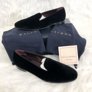 Ralph Lauren Mens Black Collis Velvet Slipper 10.5